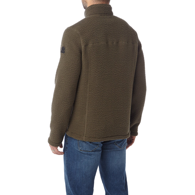 Leonard Mens Sherpa Fleece Jacket - Dark Khaki image 3