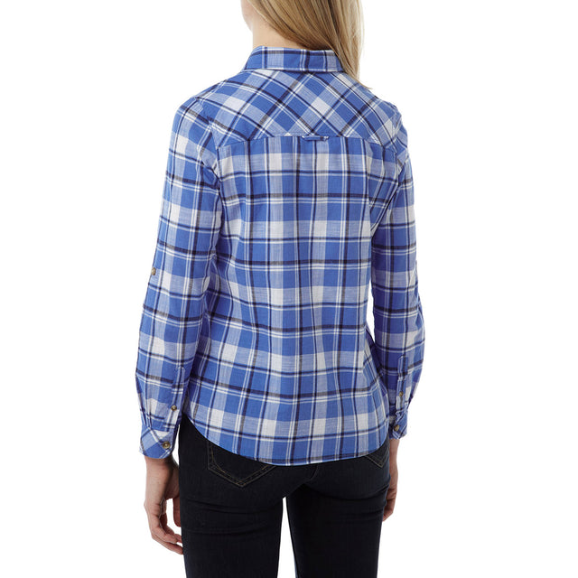 Madeline Womens Long Sleeve Shirt - Marina Blue Check image 3