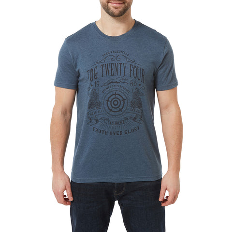 Malton Mens Graphic T-Shirt Crest - Denim Marl