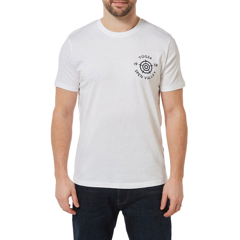 Malton Mens Graphic T-Shirt Rose - White