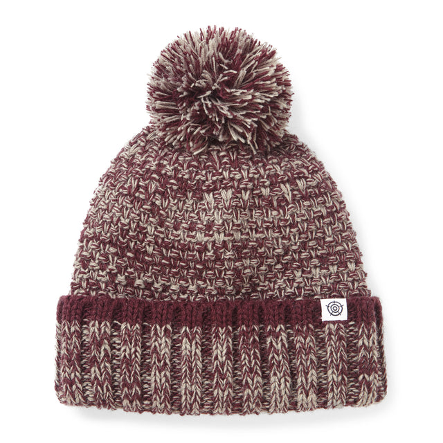 Monsal Knit Beanie Hat - Deep Port/ Grey Marl
