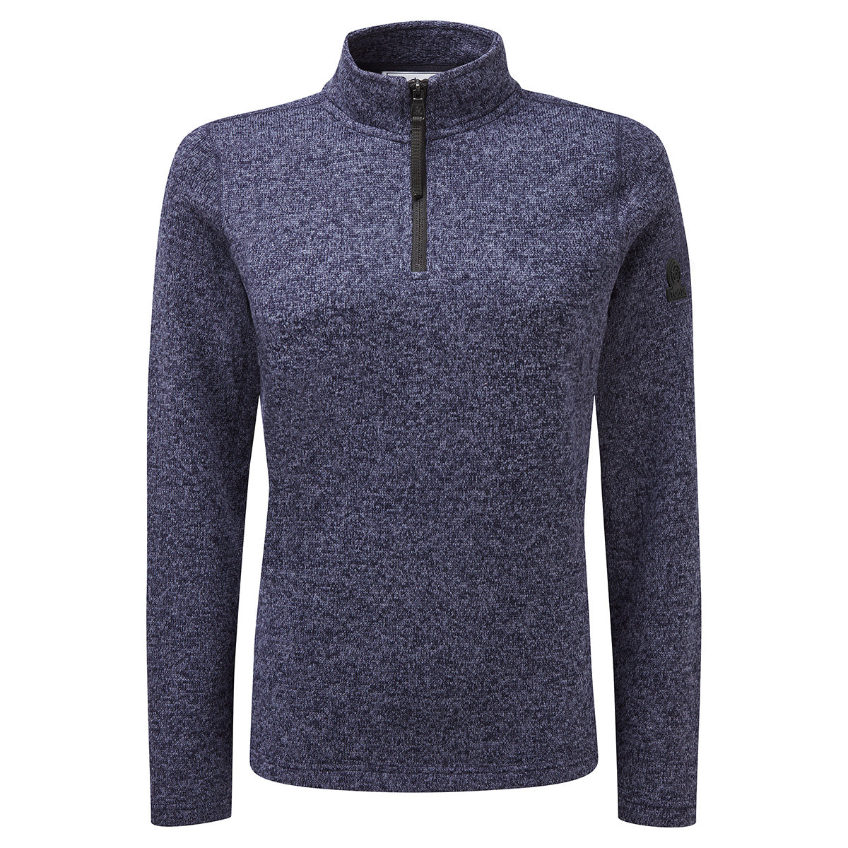 Monza Womens Knitlook Fleece Zip Neck - Navy Marl image 4