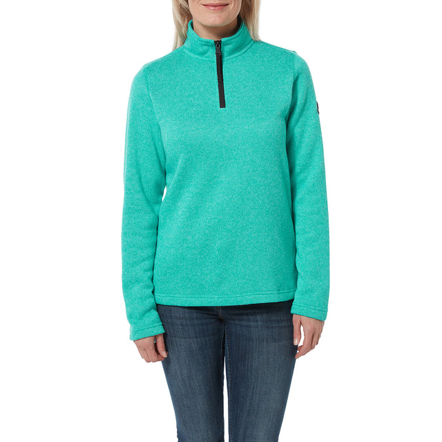 Monza Womens Knitlook Fleece Zip Neck - Ceramic Blue image 2