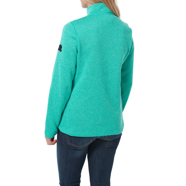 Monza Womens Knitlook Fleece Zip Neck - Ceramic Blue image 3