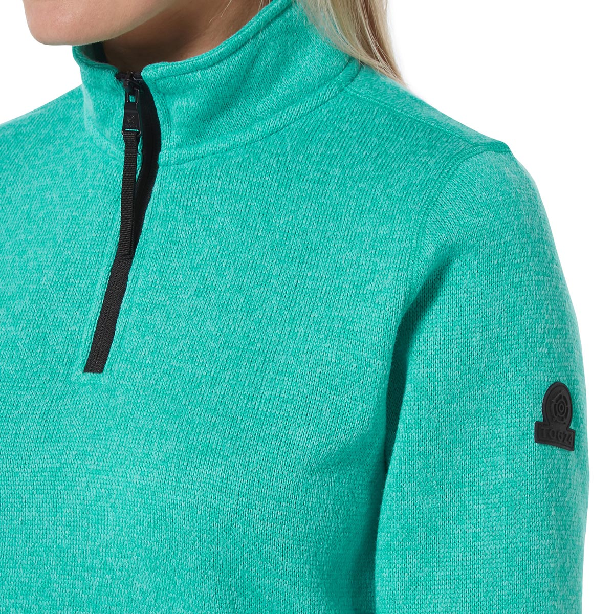 Monza Womens Knitlook Fleece Zip Neck - Ceramic Blue image 4