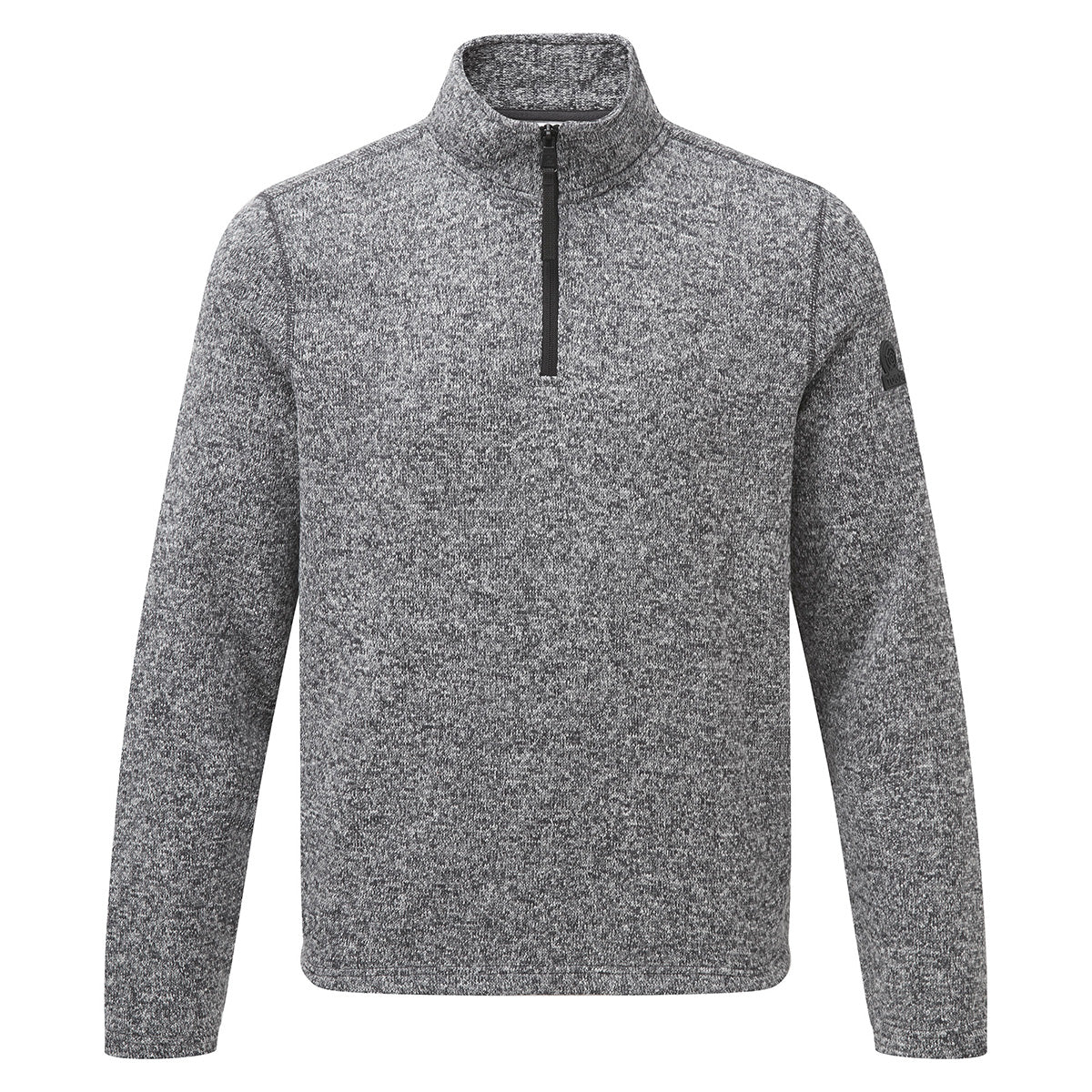 Monza Mens Knitlook Fleece Zipneck - Grey Marl image 4
