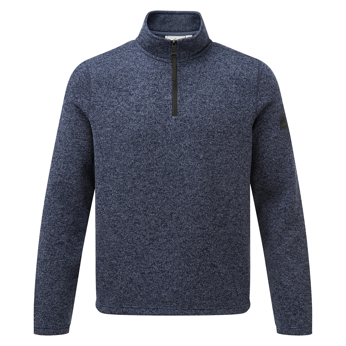 Monza Mens Knitlook Fleece Zipneck - Navy Marl image 4