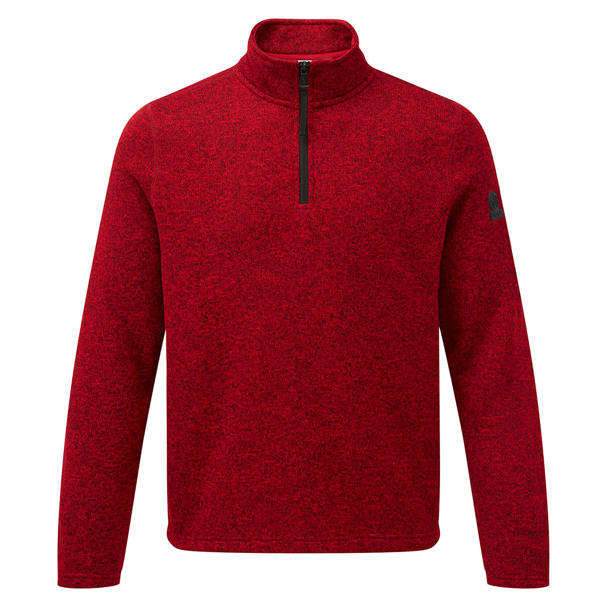 Monza Mens Knitlook Fleece Zipneck - Chilli Marl image 4