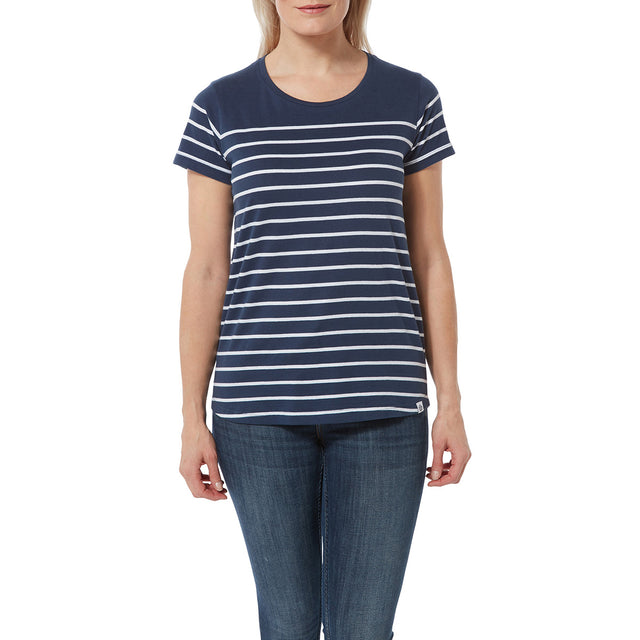 Morigan Womens T-Shirt - Naval Blue Stripe image 2