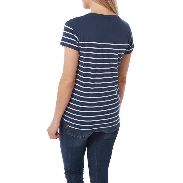 Morigan Womens T-Shirt - Naval Blue Stripe image 3