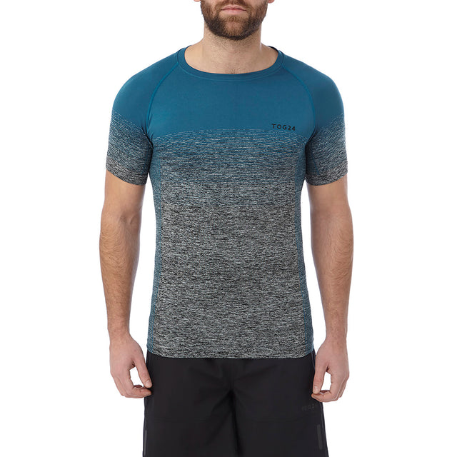 Murphy Mens Seamless Performance T-Shirt - Lagoon Blue Gradient image 2