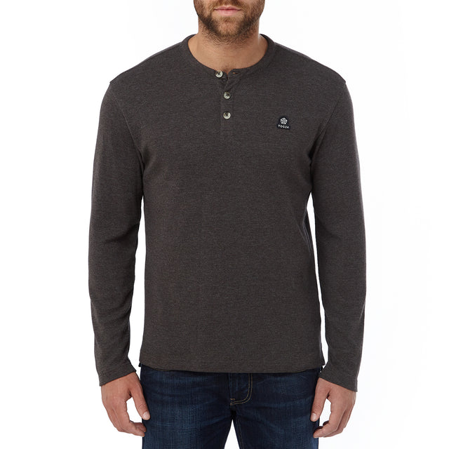 Ned Mens Long Sleeve T-Shirt - Dark Grey Marl image 2