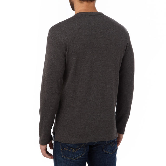 Ned Mens Long Sleeve T-Shirt - Dark Grey Marl image 3