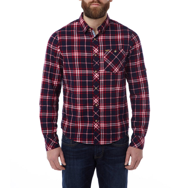 Neville Mens Long Sleeve Shirt - Navy Check image 2