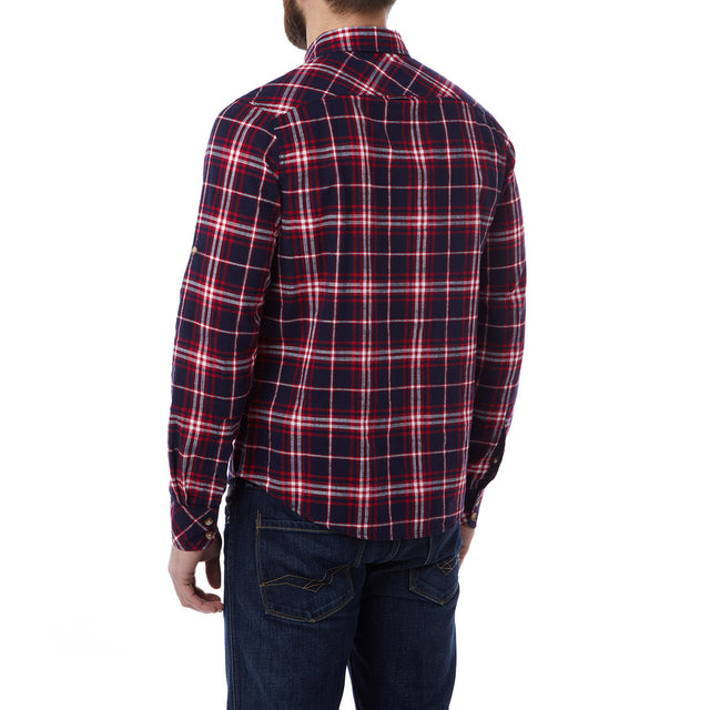 Neville Mens Long Sleeve Shirt - Navy Check image 3
