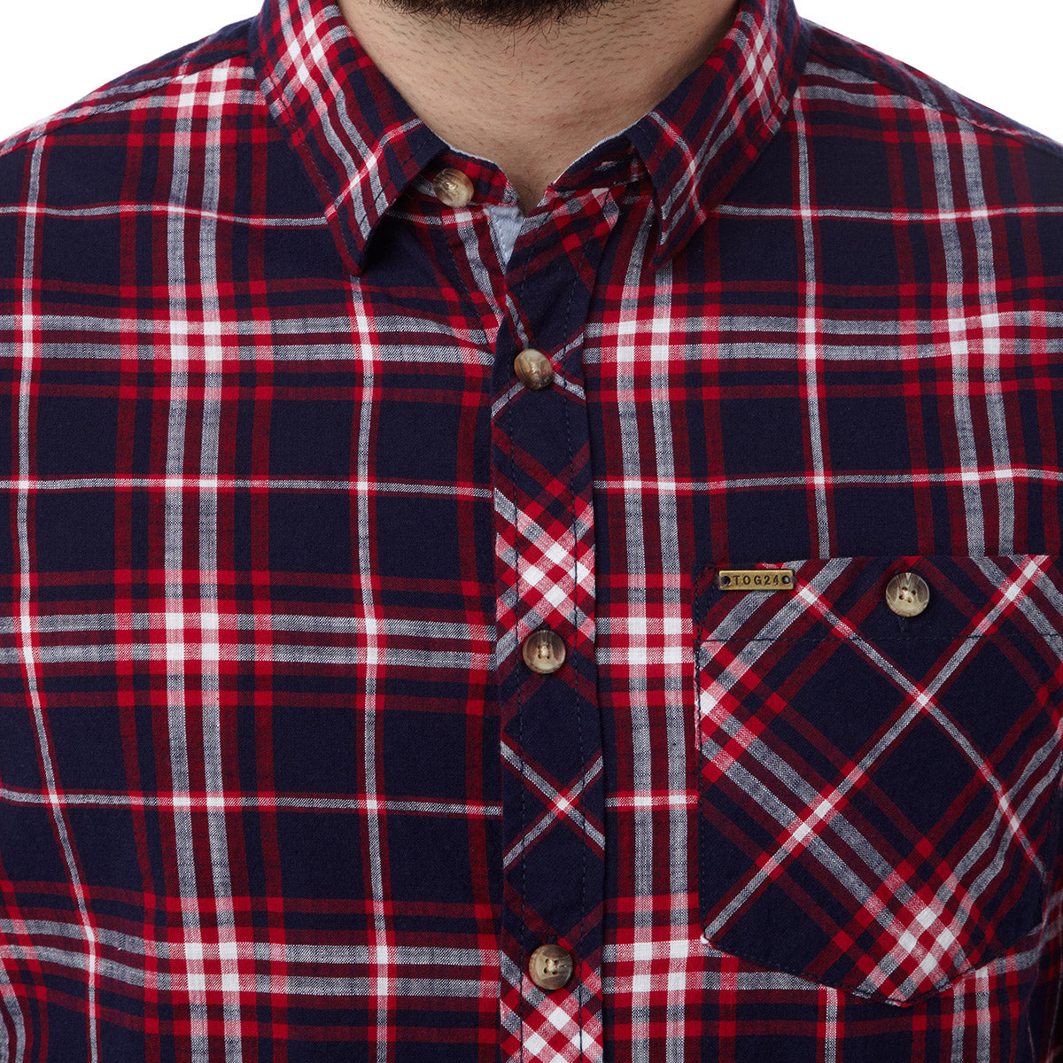 Neville Mens Long Sleeve Shirt - Navy Check image 4