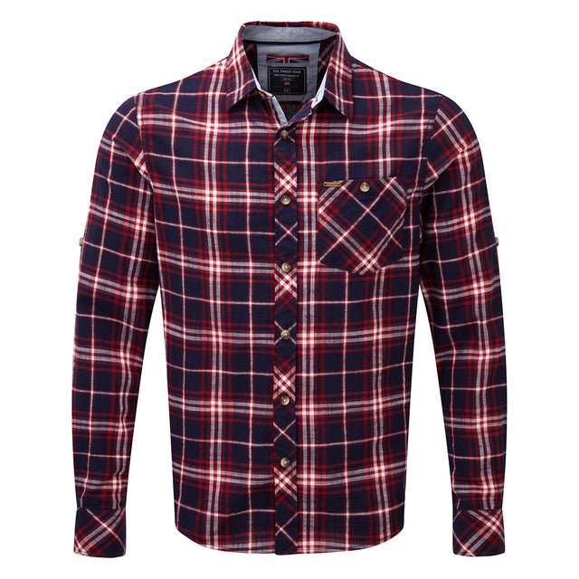 Neville Mens Long Sleeve Shirt - Navy Check image 1