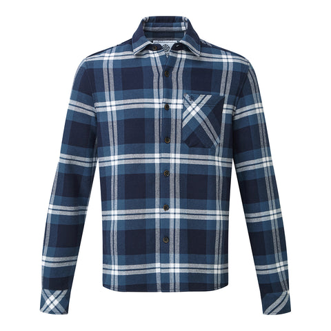 Norman Mens Long Sleeve Flannel Shirt - Faded Navy Check
