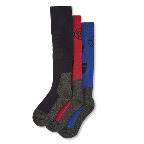Oberau Kids 3 Pack Merino Ski Socks - Royal/Chilli/Navy