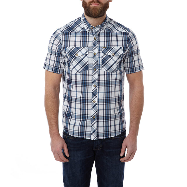Oliver Mens TCZ Cotton Shirt - Faded Navy Check image 2