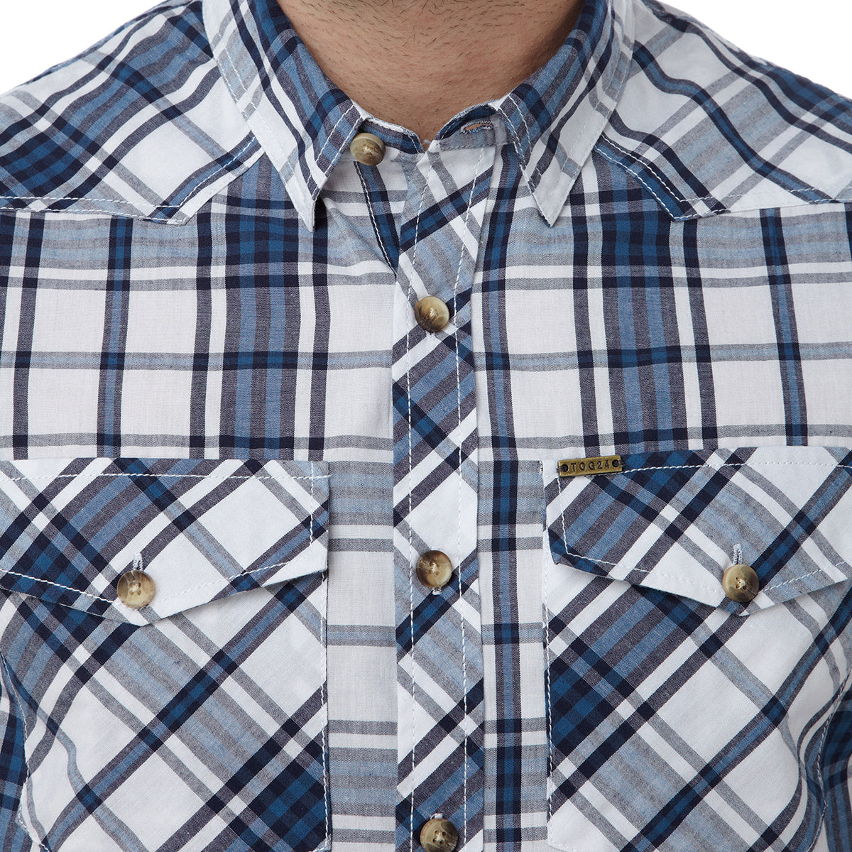 Oliver Mens TCZ Cotton Shirt - Faded Navy Check image 4