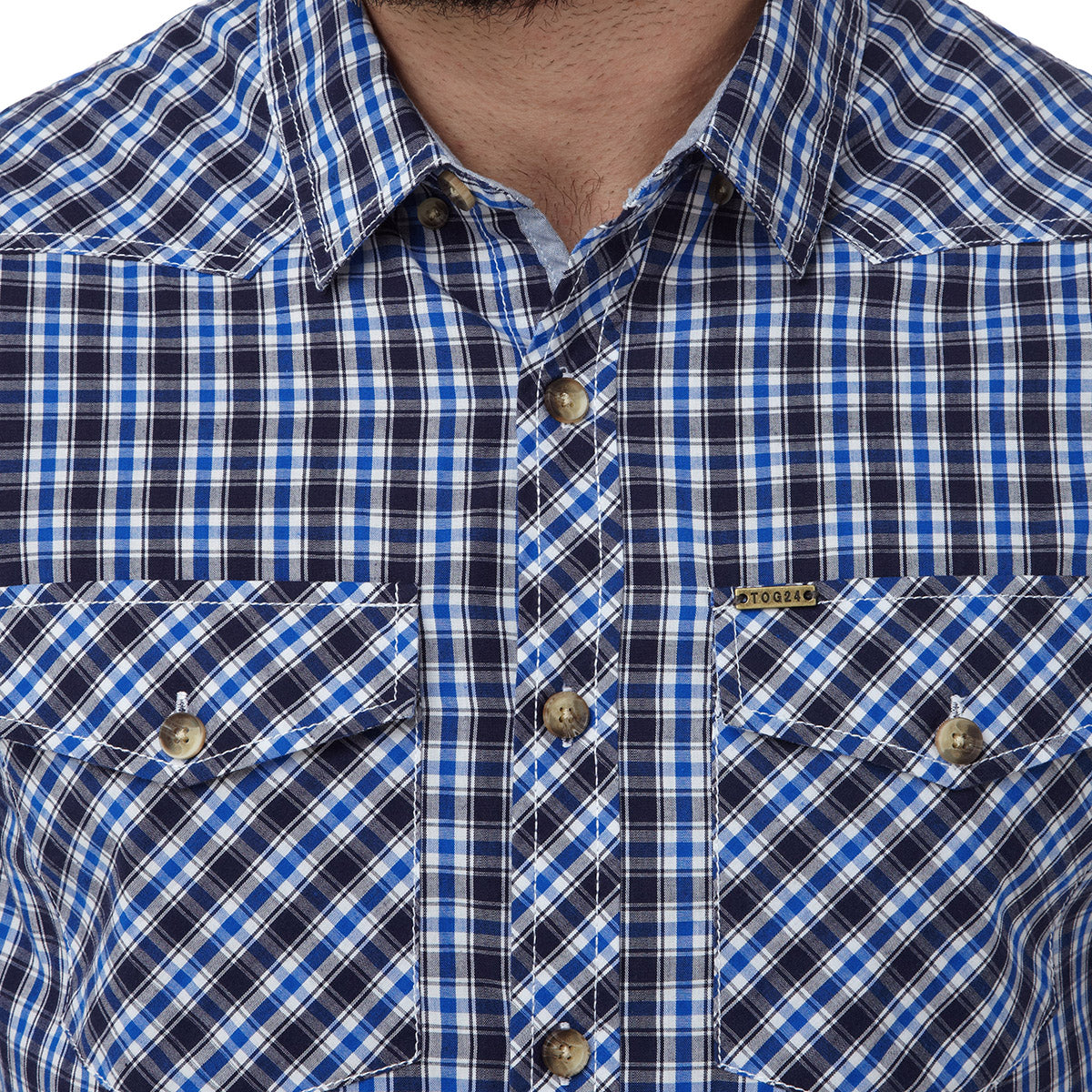 Oliver Mens TCZ Cotton Shirt - Ocean Check image 4