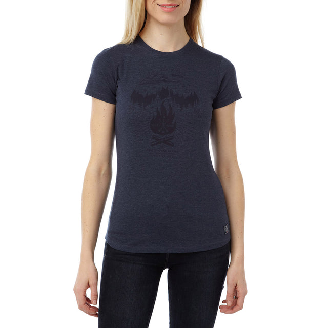 Olivia Womens T-Shirt Camp Fire Vibes - Navy Marl image 2
