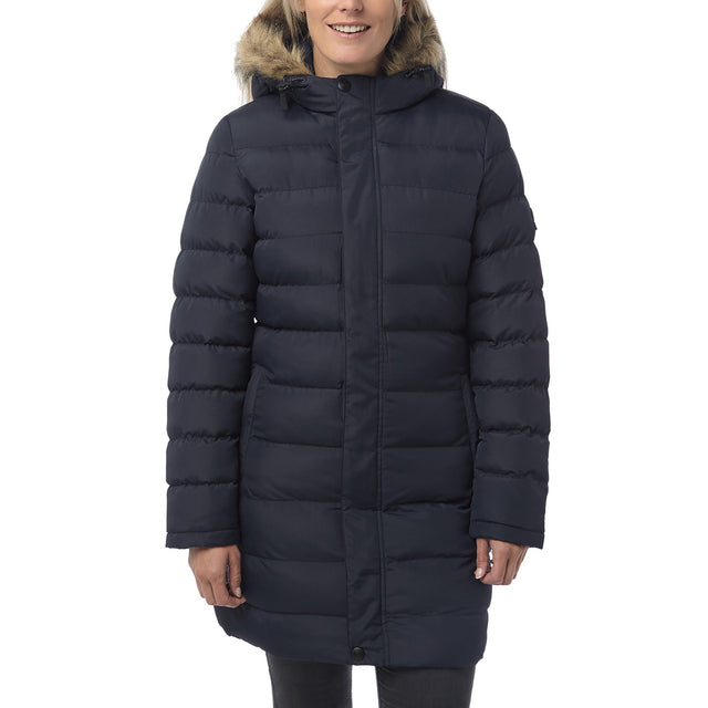Otley Womens Long Insulated Jacket - Navy image 2