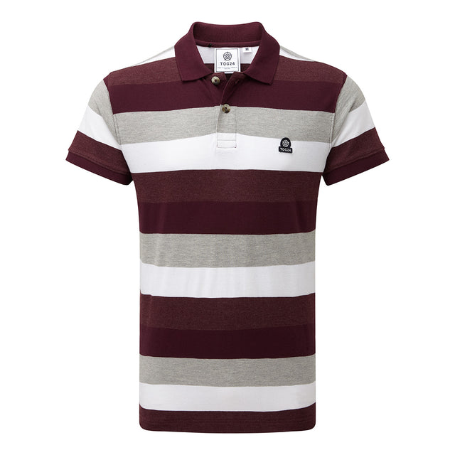 Palin Mens Pique Polo Shirt - Deep Port Stripe image 1