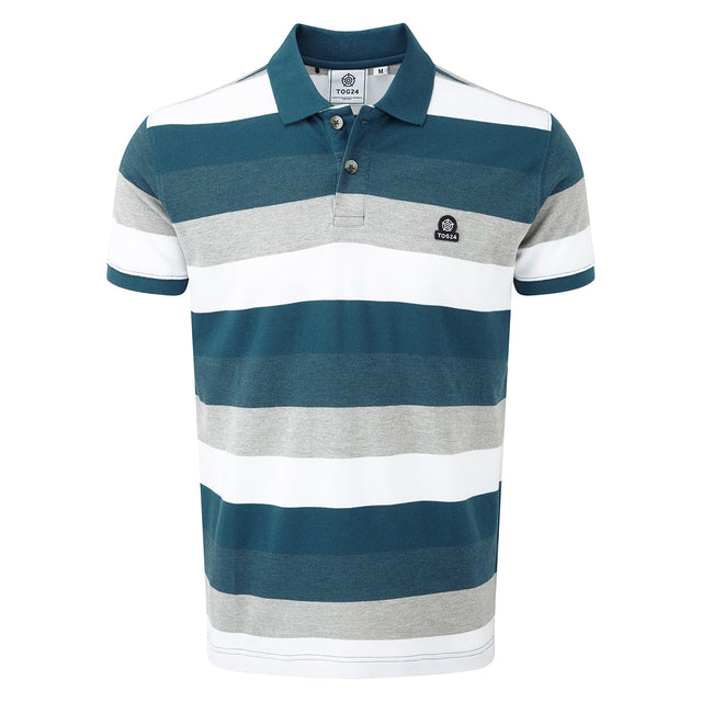 Palin Mens Pique Polo Shirt - Lagoon Blue Stripe image 3