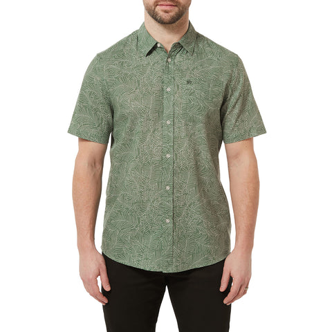 Palm Mens Short Sleeve Shirt - Faded Forest