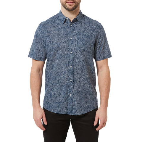 Palm Mens Short Sleeve Shirt - Denim
