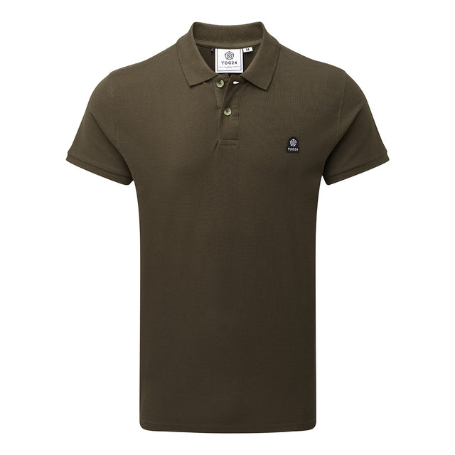 Percy Mens Pique Polo Shirt - Dark Khaki image 3