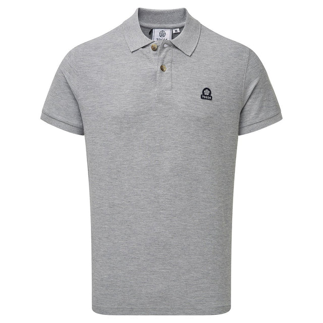 Percy Mens Pique Polo Shirt - Grey Marl image 7