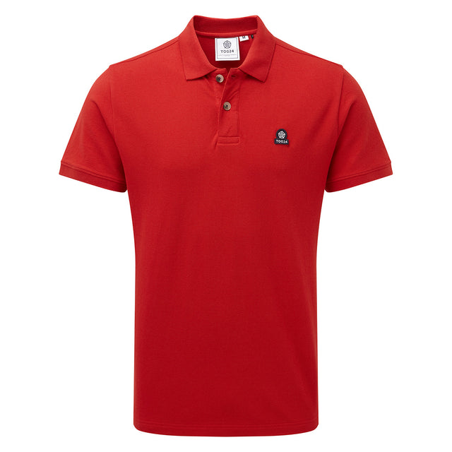 Percy Mens Pique Polo Shirt - Crimson image 1