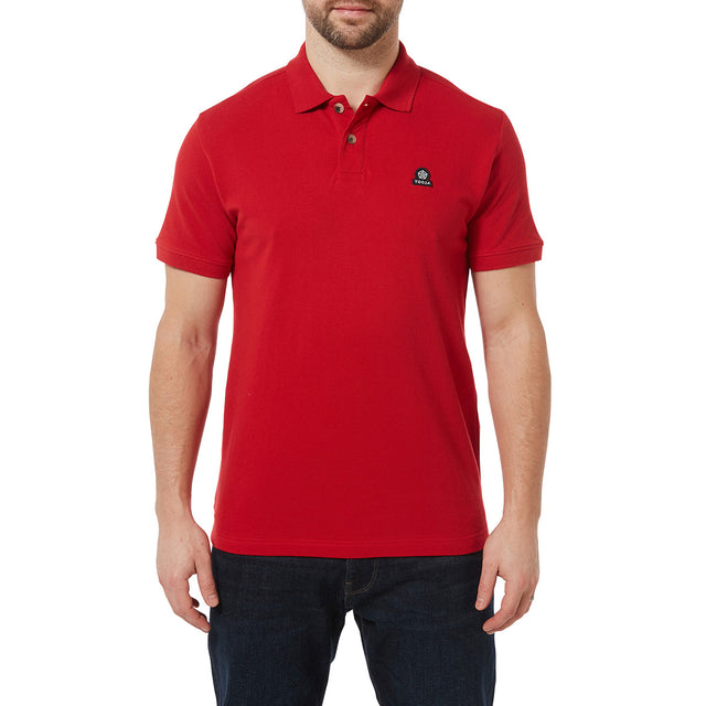 Percy Mens Pique Polo Shirt - Crimson image 2