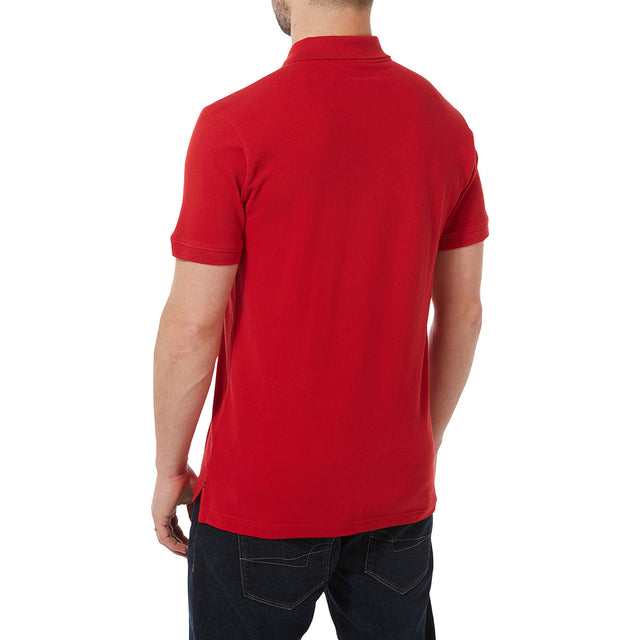 Percy Mens Pique Polo Shirt - Crimson image 3