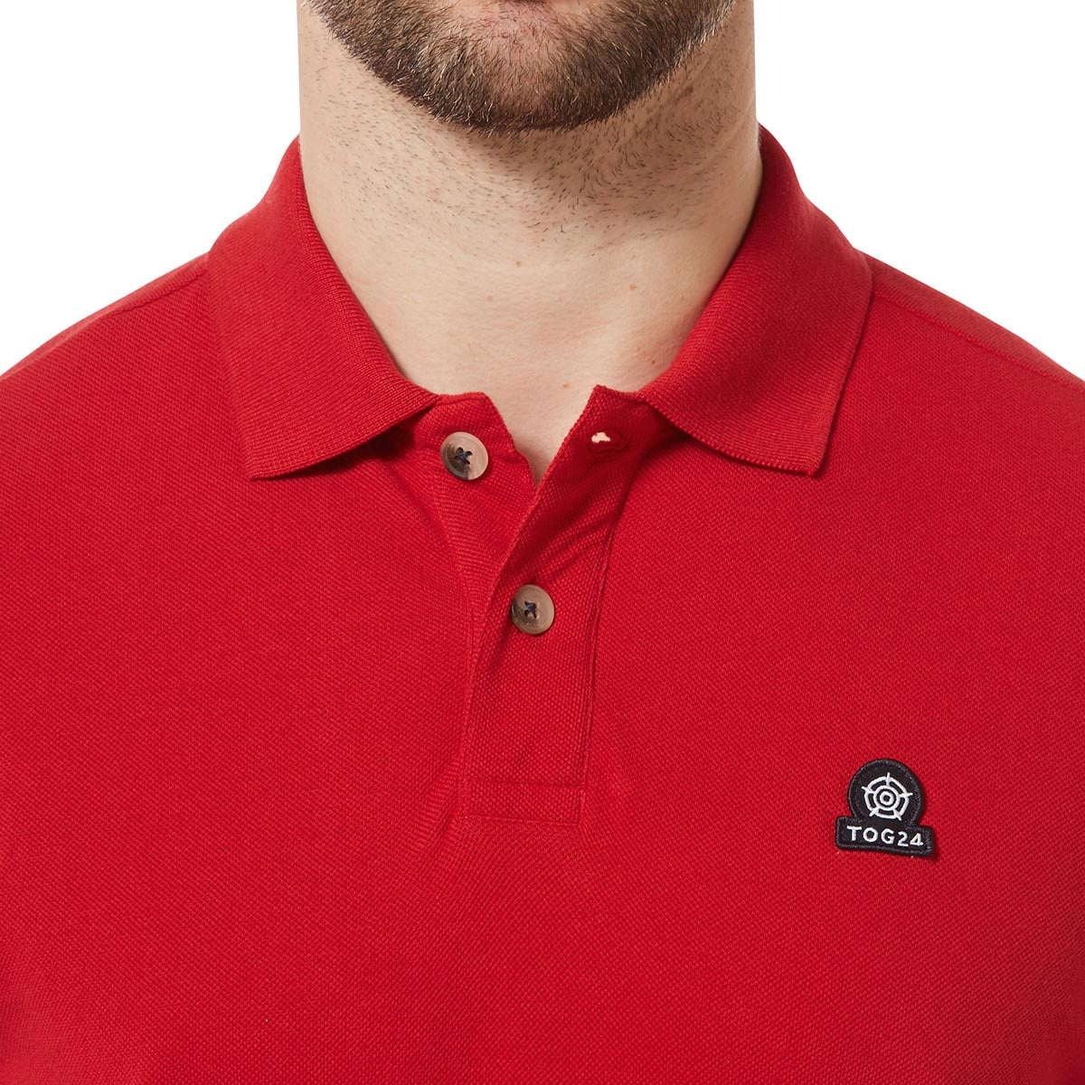 Percy Mens Pique Polo Shirt - Crimson image 4