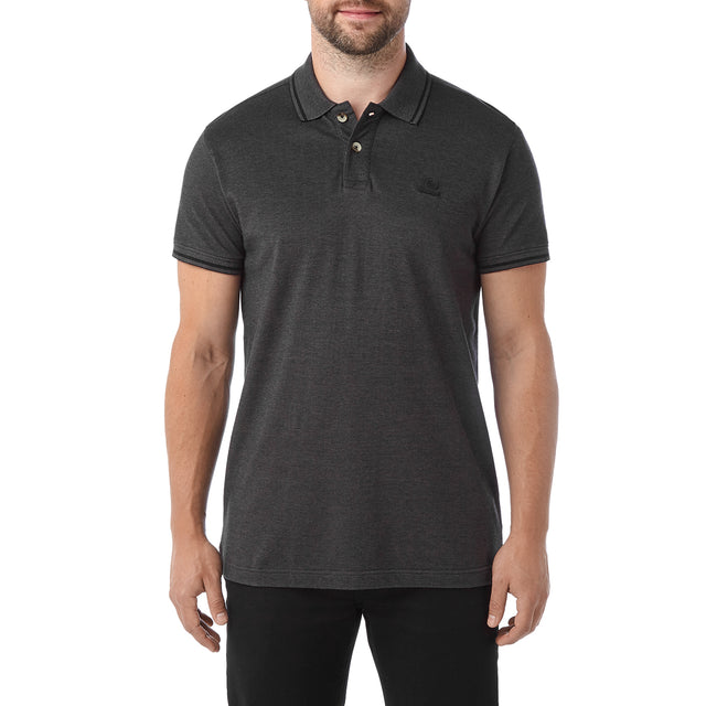Peyton Mens Pique Polo Shirt - Charcoal image 2