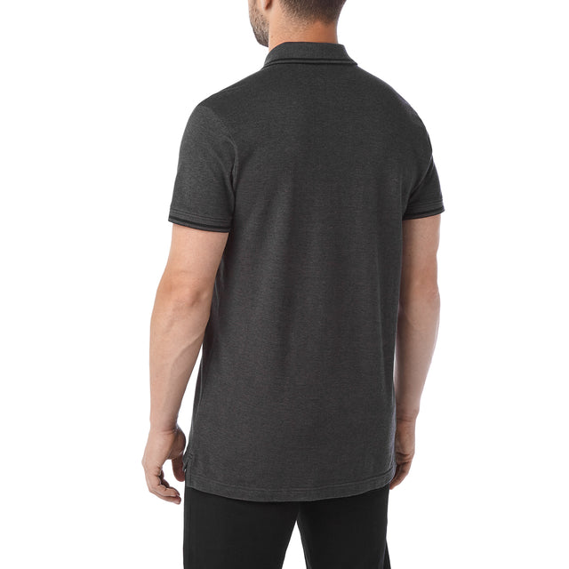 Peyton Mens Pique Polo Shirt - Charcoal image 3