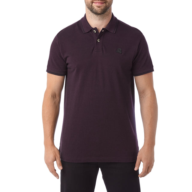 Peyton Mens Pique Polo Shirt - Deep Port image 2