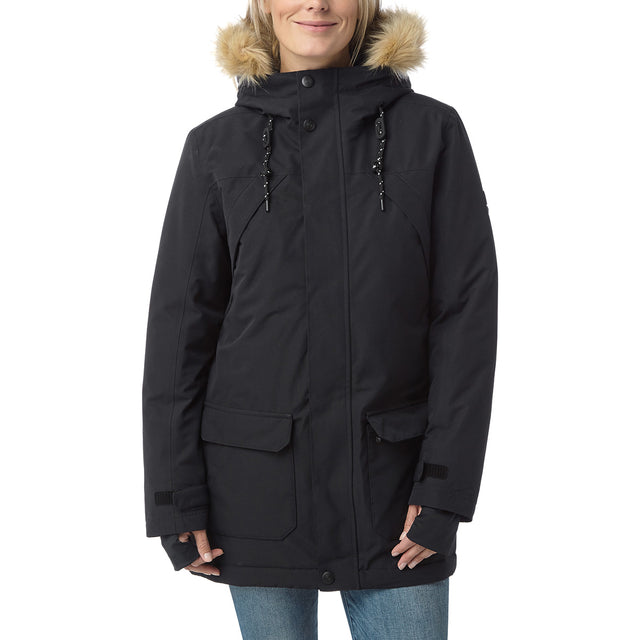 Premium Womens Waterproof Down Filled Parka - Black image 2