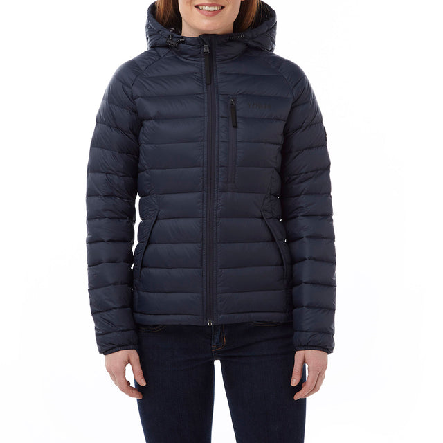 Pro Womens Down Hooded Jacket - Navy image 2