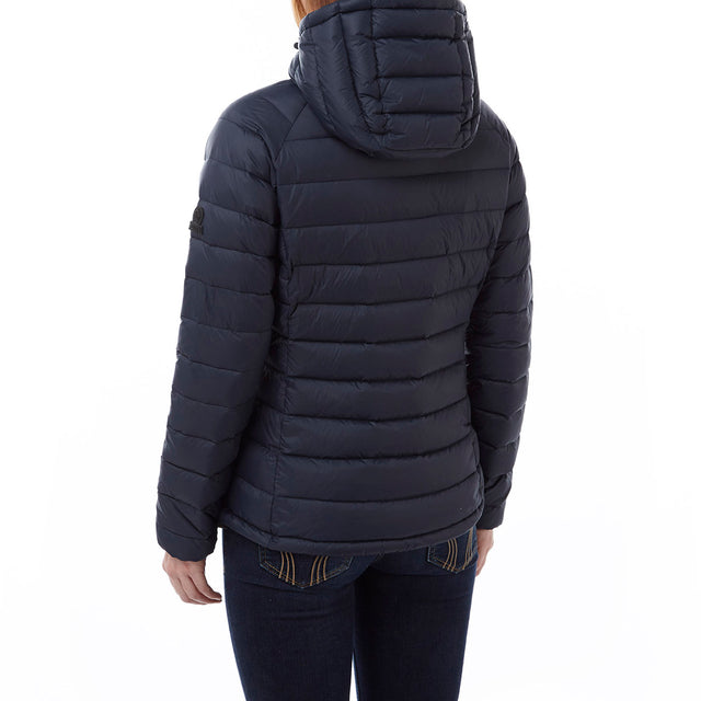 Pro Womens Down Hooded Jacket - Navy image 3