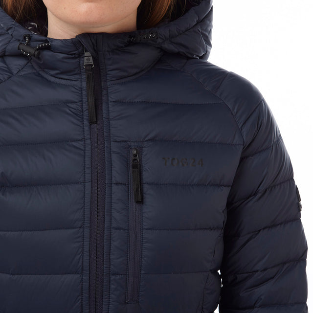 Pro Womens Down Hooded Jacket - Navy image 5