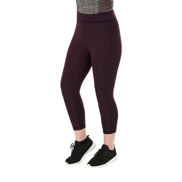 Raid Womens Reversible Performance Leggings - Deep Port/Black image 2
