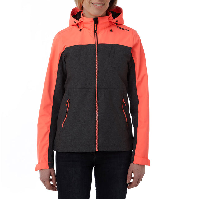 Rhea Womens Milatex Jacket - Dark Grey Marl/Coral image 2
