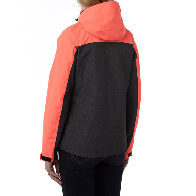 Rhea Womens Milatex Jacket - Dark Grey Marl/Coral image 3