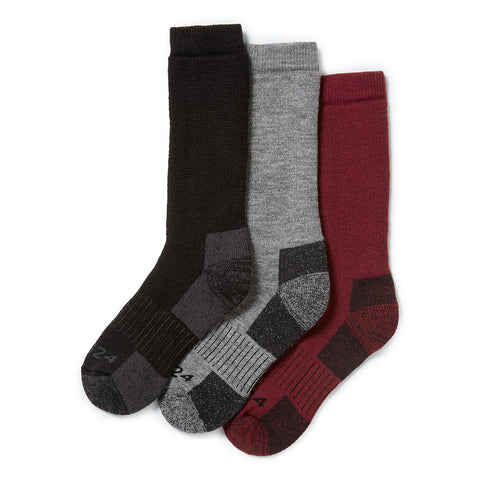 Rigton 3 Pack Merino Trek Socks - Black/Chilli/Dark Grey