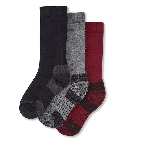Rigton Kids 3 Pack Merino Trek Sock - Navy/Chilli/Dark Grey